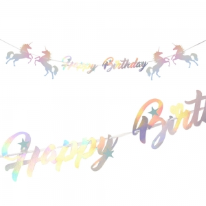 Baner girlanda Happy Birthday urodziny jednorożec