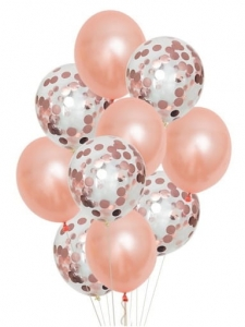 Balony lateksowe KONFETTI Rose Gold 10 szt